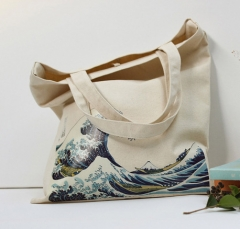 Fashion Cotton Grocery Tote Shopping Bags Folding Cart Eco Grab Reusable Bag  Sea Wave Print #01 one size