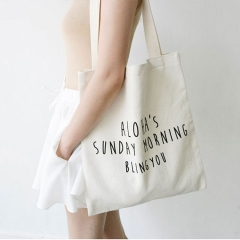 Cotton Canvas Eco Reusable Shopping Shoulder Bag Tote Letter Package Folding bags handbags white one size