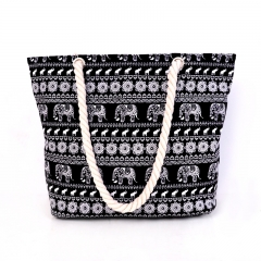 2017 new women canvas animal printing shopping bags cotton string Bohemia large all-match Beach #01 one size