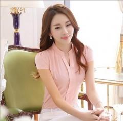 New  Women shirt Fashion Casual short  sleeved chiffon shirt  Slim Solid color lady blusas lavender pink S