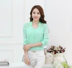 fashion plus size shirt slim V-neck long-sleeve lace patchwork chiffon elegantwomen blouses  shirt green s