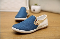 The new flax breathable shoes, a pedal fashion casual shoes lazy Peas shoes  Men Casual Shoes blue 39