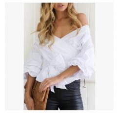 Puff Sleeve Blue White Stripe Blouse Shirts Ruffles Trim Women Sexy V Neck Summer Fashion New Tops white s