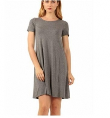 Women Vintage Dress  Summer Dresses Fashion Casual Womens Clothing Solid Simple Short Sleeves Dress gray s