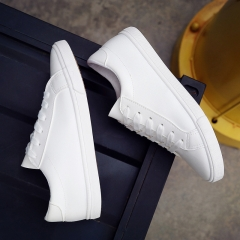 new spring and summer with white shoes women flat leather canvas shoes female white 35(women)