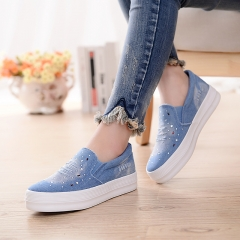 Denim Shoes with Rhinestone Crystal Comfortable Thick Bottom Canvas Shoes Women 01 35(women)
