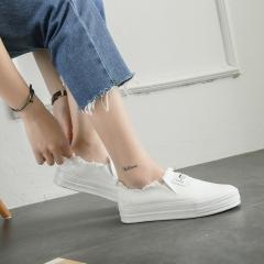 fashion Appliques slipony women footwear height increase girl female comfort slipon white 36(women)