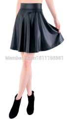 free shipping new high waist faux leather skater flare skirt mini skirt above knee solid color skirt 1 s