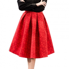 Kobeinc Autumn Retro High Waist Skirt Women Elegant Female Jacquard Mini Pleated Skirts red s