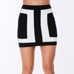 New Women Bodycon Pencil Skirts Slim Black White Patchwork Tight Stretch Short Winter black s
