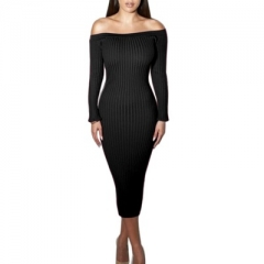 Fashion Long Sleeve Off Shoulder Slash Neck Sexy Dress Slim Bodycon Knitted Sweater Knee-Length black s