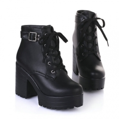 2017Winter Lace-Up Sexy Women Boots Fashion Platform punk high square heels Black Buckle Ankle boots black 34