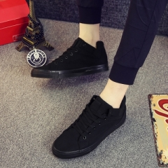 New 2017 Spring Summer Canvas Shoes Men Flat Heel Black Shoes High Quality Brand Casual Shoes black 39