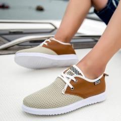 2017 Hot Sale Men Summer Shoes Breathable Male Casual Shoes Fashion Chaussure Homme Soft khaki 39