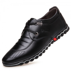 2017 Spring Fashion New Super Fiber Leather Soft Comfortable Men's Casual Shoes Portable Driving black 39