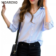 2017 Summer Women Striped Blouse Fashion Casual Blue V-Neck Seven Sleeve Buttons Blouse blue s