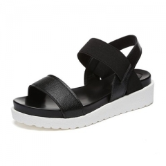 Women Beach Sandals Summer Casual Flat Shoes Peep-toe Roman Sandals Lady Flip Flops Footwear black 35