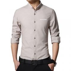 2017New Fashion Casual Men Shirt Long Sleeve Mandarin Collar Slim Fit Shirt Men Korean Business Mens khaki m