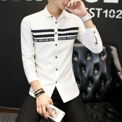 2017 Fashion Bust Stripe Design Slim Fit Mens  Long Sleeve Single Breasted Casual Social Shirt Male white m