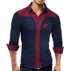 2017 Fashion Male Shirt Long-Sleeves Tops Fashion Youth Hit Color Mens Dress Shirts Slim Men Shirt navy m