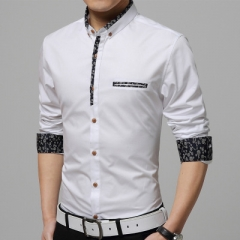 2017 spring Mercerized cotton men's long-sleeved shirt camisas Business casual fashion Slim shirt white m
