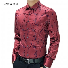 2017 New Arrival Luxury Mens Formal Shirts Long Sleeve Floral Men Shirt Tuxdeo Shirt Designer Shirts red m
