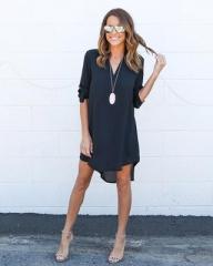 2017 Fashion Women Casual Loose Plus Size Elegant Dress Long Sleeve Irregular Chiffon Dress dark blue s