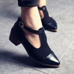 Low Heel Pumps Shoes Cut-Outs Imitate PU Retro Wood Square Heel Oxford Shoes For Ladies black 35