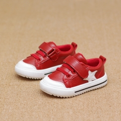 Children's Sport Shoes Leather Boys Girls Leather Shoes Wholesale Baby Fashion Sneakers Comfortable red 13.5
