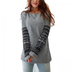 2017 Spring Autumn New O-neck Print Thick Hoodies Women Clothing Full Sleeve gray Pullovers Slim gray s