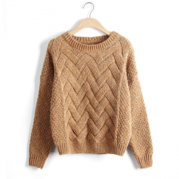 2017 Autumn Winter Women Sweaters And Pullovers Plaid Thick Knitting Mohair Sweater Female Loose brown one size