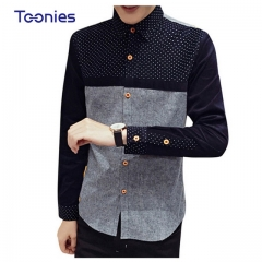 2017 New Chemise Homme Spring Men Shirts Casual Slim Fit Long Sleeve Male Shirt black m