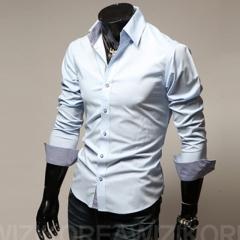 2017 New Spring Fashion Brand Men Clothes Slim Fit Men Long Sleeve Shirt white m