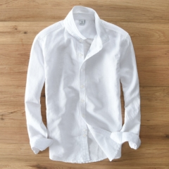 New 2017 Mens Linen Shirts For Man Clothing  Men's Shirt Casual Single Breasted Slim white s