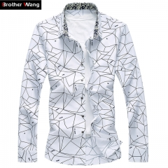 2017 New Men Printed Long Sleeve Shirt Slim Business Leisure Shirt  Male Casual Brand Shirt Tops white s