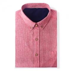 2017 New high quality shirts men brand clothes striped shirts men long sleeve soft cotton shirts red s