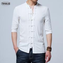 2017 New Chinese style Flax summer pants embroidered yarn men's shirt men's long sleeve shirt white m