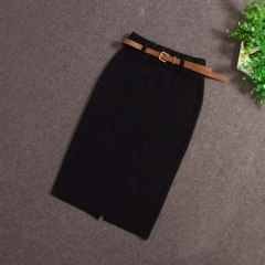 2017 Fashion Skirts Autumn winter Casual Women High Waist Knee-length Knitted Pencil Skirt black one size