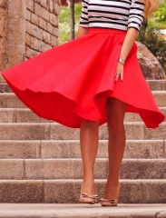 2017 New Women Perfect Peach Pink Pleats A-line Saias Femininas Flared High Waist Midi Skater Skirt red s
