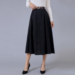 2017 Autumn Vintage Single-Breasted Long Big Swing Skirts Female Simple Elegant Wild Bodycon Skirts black s