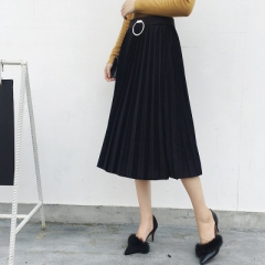 2017 Autumn and winter women's new fashion pleated skirt Slim female models long skirt free shipping black one size