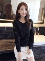 2017 New Fashion Elegant Lace Hollow Out Shirt Women Long Sleeve Bottoming shirts black s