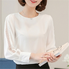 2017 New Fashion  Women Blouses Shirt Hollow Out Lace Blouse Tops For Shirt white s