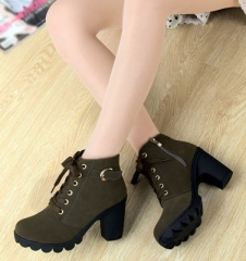 2017 New Autumn Winter Women Boots High Quality Solid Lace-up European Ladies shoes army green 40
