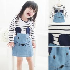2017 New girls Autumn Spring clothes children cartoon mouse dress Princess one-piece dress sky blue 90cm