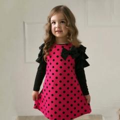 2017 Summer Baby Girls Dresses Kids Clothes Long sleeve Dress  Bowknot Children Clothing Vestidos rose red 90cm