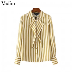 2017 women sweet ruffles striped shirts  sleeve collar pleated blouses ladies office wear brand tops yellow s