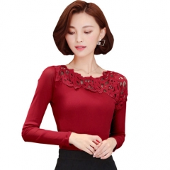 2017 Lace Patchwork Sheer Mesh Blouse Shirt Women Long Sleeve Tops Autumn Winter Fall Korean Style wine red s