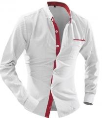 2017 Men'S Fashion Men Shirt British Fashion Wave Point Slim Square Collar Long-Sleeved Shirt white m