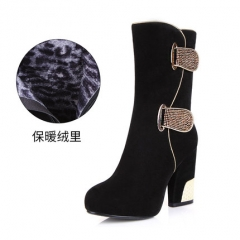 Universe Cow Suede Women Mid Calf Boots Winter Autumn Super High Heels Shoes with Platform with velvet 34